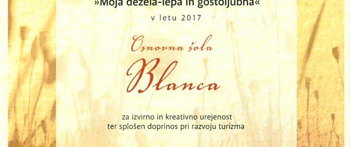 Priznanje OŠ Blanca ˝Moja dežela lepa in gostoljubna˝
